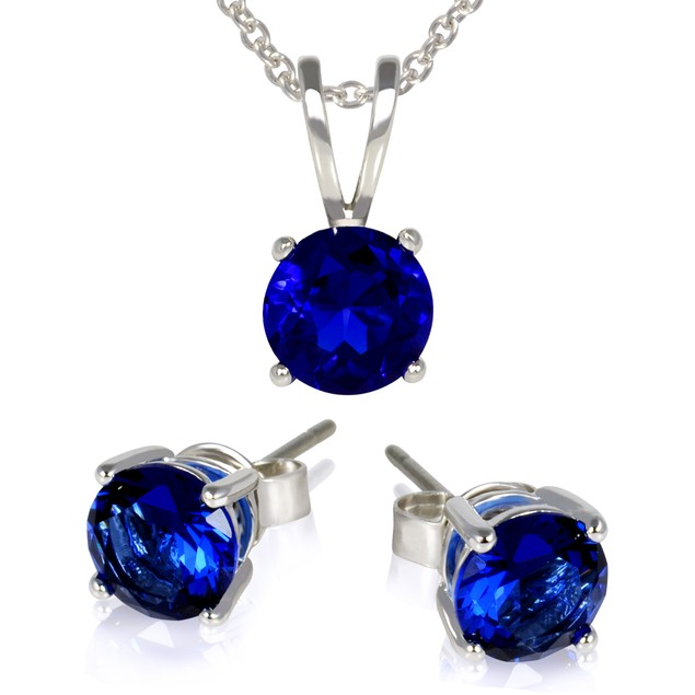 6mm Colored Gemstone Stud Earrings & Necklace Set - 5 Colors