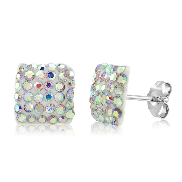 Sterling Silver Sparkling Crystal 10mm Stud Earrings - Square Rainbow