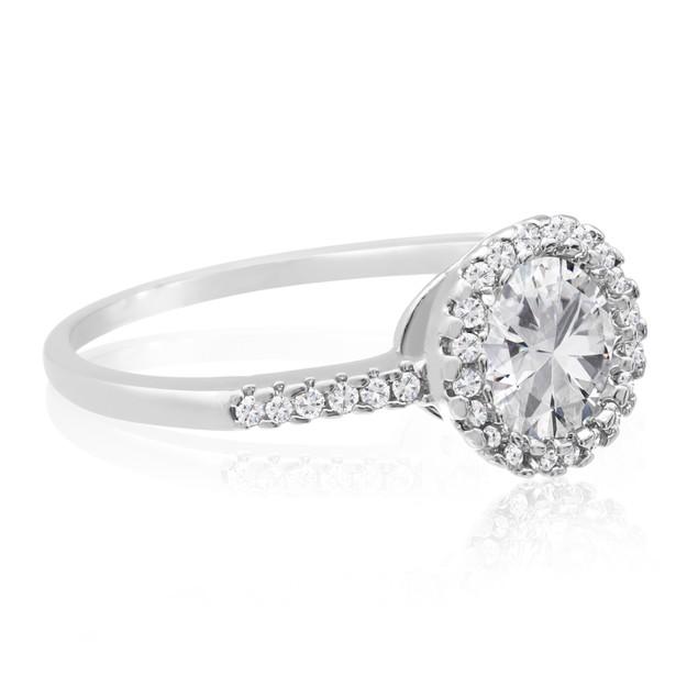 2 Carat Cubic Zirconia Halo Engagement Ring