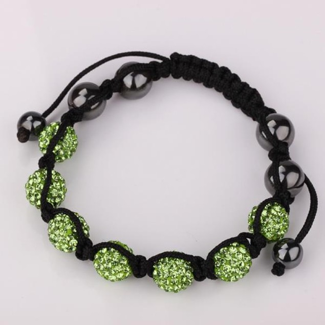 80's Glam Six Beads Austrian Crystal Bracelet - Bright Emerald