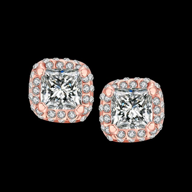 Rose Gold Plated Halo Studs