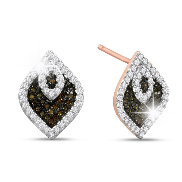 1/3ct Champagne and White Diamond Stud Earrings In 14 Karat Rose Gold