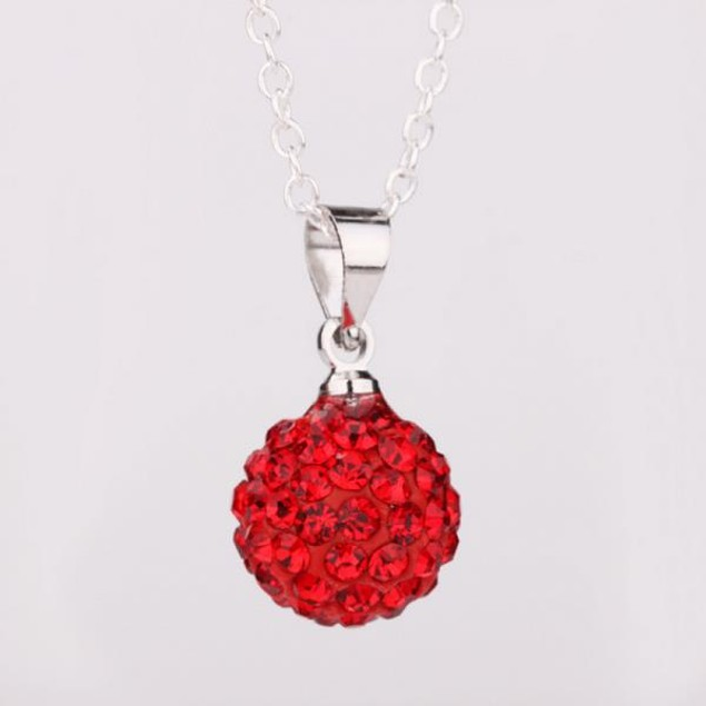 Solid Austrian Stone Pendant - Red