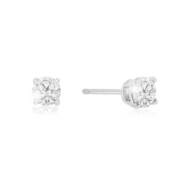 1/2ct Natural Genuine Diamond Stud Earrings In 10 Karat White Gold