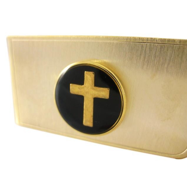 Gold Plated Christian Cross Money Clip - Black Mens Money Clips