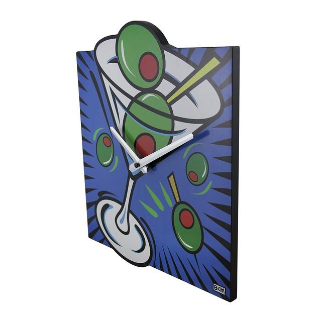 Brightly Colored Pop Art Style Martini Wall Clock Wall Clocks