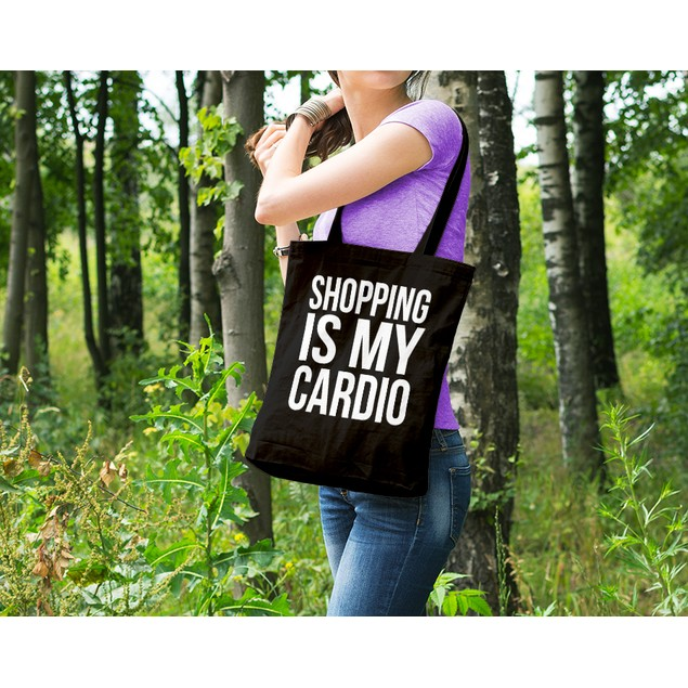 Shopping Is My Cardio Black Tote Bag