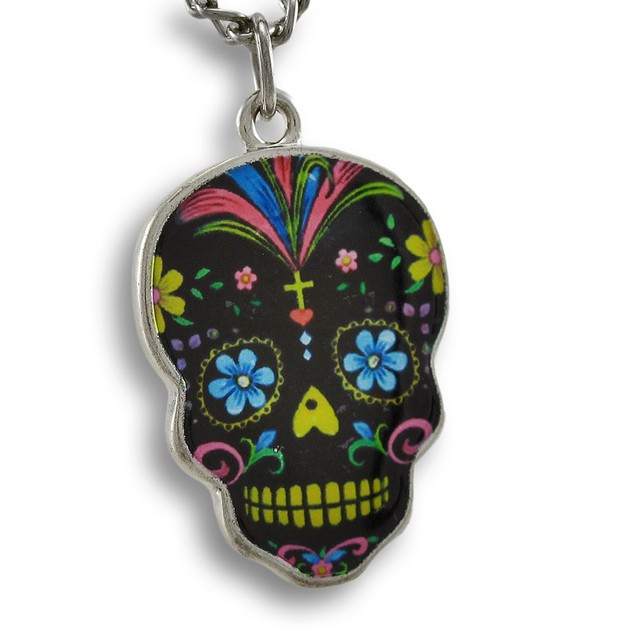 Day Of The Dead Black Sugar Skull Necklace 24 In. Womens Pendant Necklaces