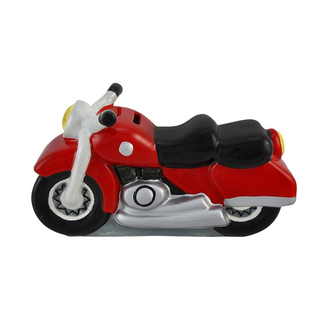 Ceramic Red Motorcycle Decorative Coin Bank Toy Banks