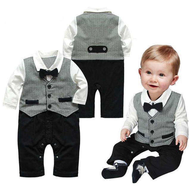 Baby Boy Formal Party Tuxedo Waistcoat Bow Tie Suit