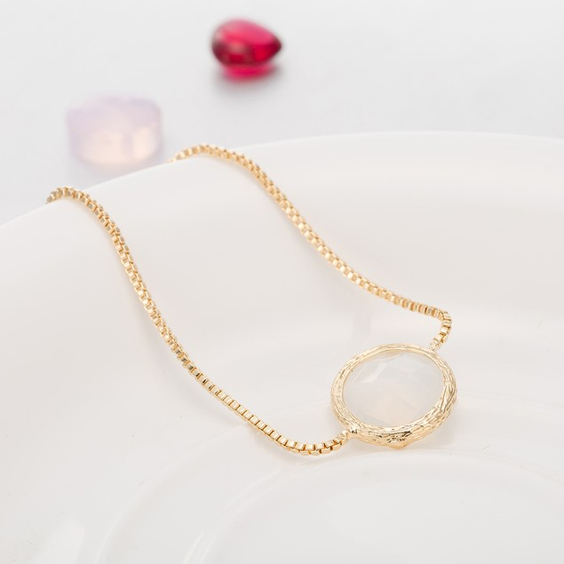 Gold Plated Circular Crystal Gem Bracelet