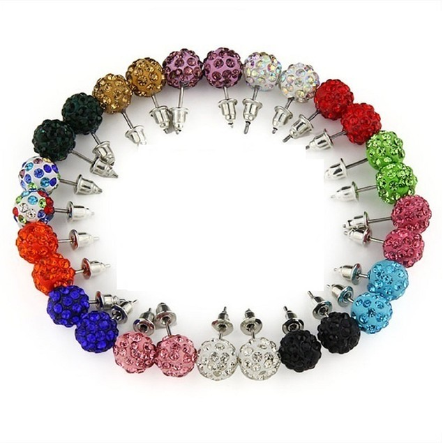 14 Pairs Crystal Ball Earrings Set