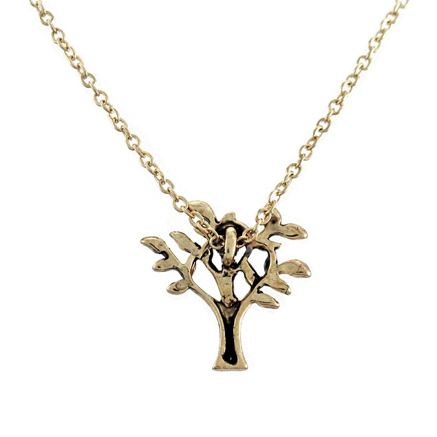 Goldtone Tree Of Life Pendant W/ 16 Inch Necklace Womens Pendant Necklaces
