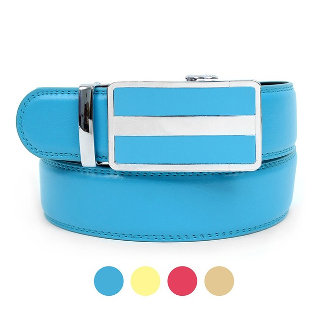 Cut to Adjust Size Genuine Leather Sliding Buckle Ratchet Belt