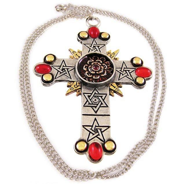`The Rose Cross` Pendant / Necklace Golden Dawn Mens Pendant Necklaces