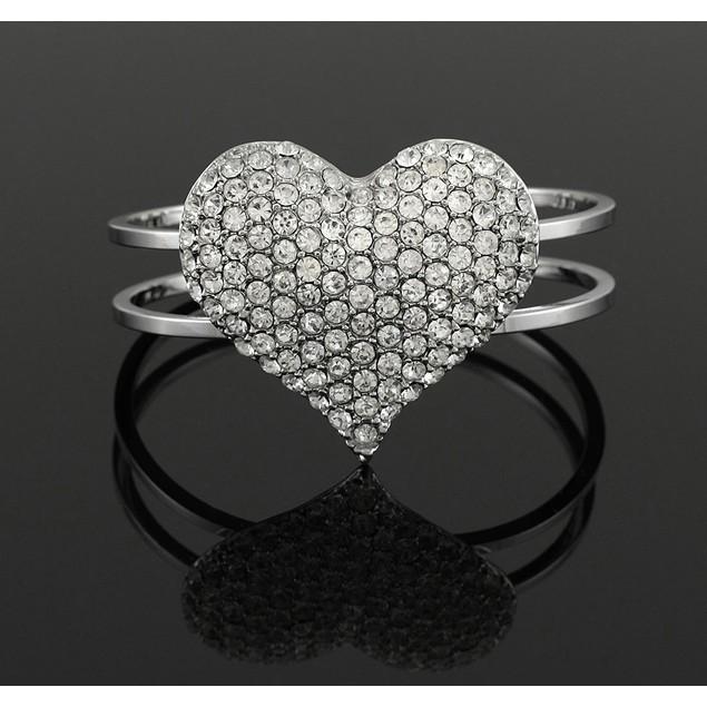 Rhinestone Heart Chrome Hinged Cuff Bracelet Womens Cuff Bracelets