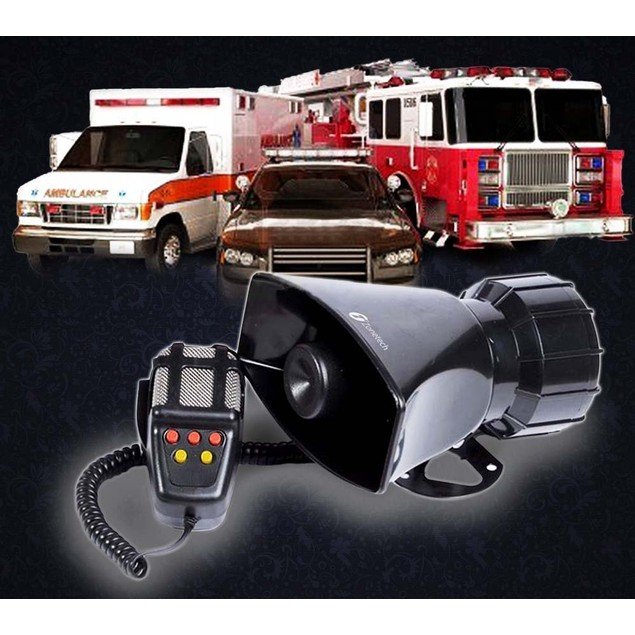 Zone Tech 80W 7 Tone Sound Car Police Siren Horn With Mic PA Speaker System