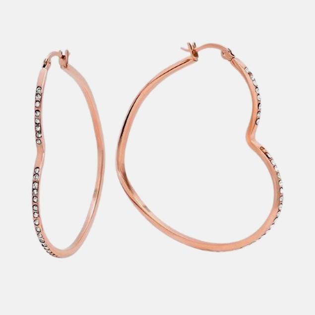 Ladies 18Kt Rose Gold Plated Heart Hoop Earrings