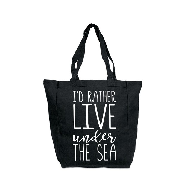 I'd Rather Live Under the Sea Black Tote Bag