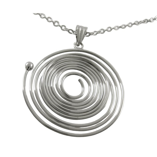 Silvertone Spiral Wire Circle Necklace / Earrings Womens Earring And