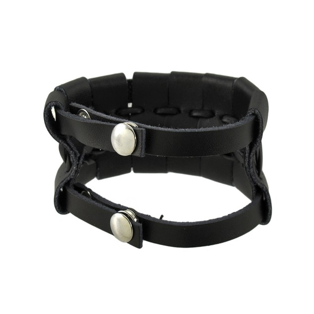 Black Leather Double Snap Wrap Bracelet Wrist Band Mens Leather Bracelets