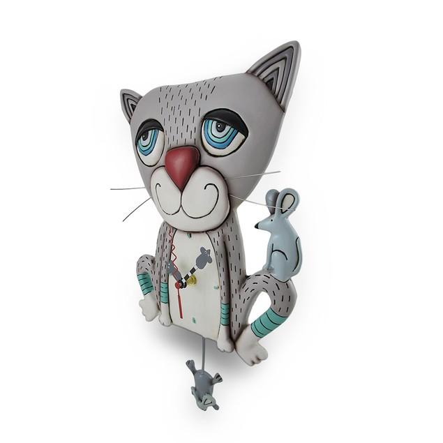 Allen Designs Mouser Whimsical Gray Cat Pendulum Wall Clocks