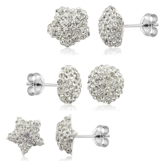 3-Pack Sterling Silver & Crystal Stud Earrings - 4 Colors