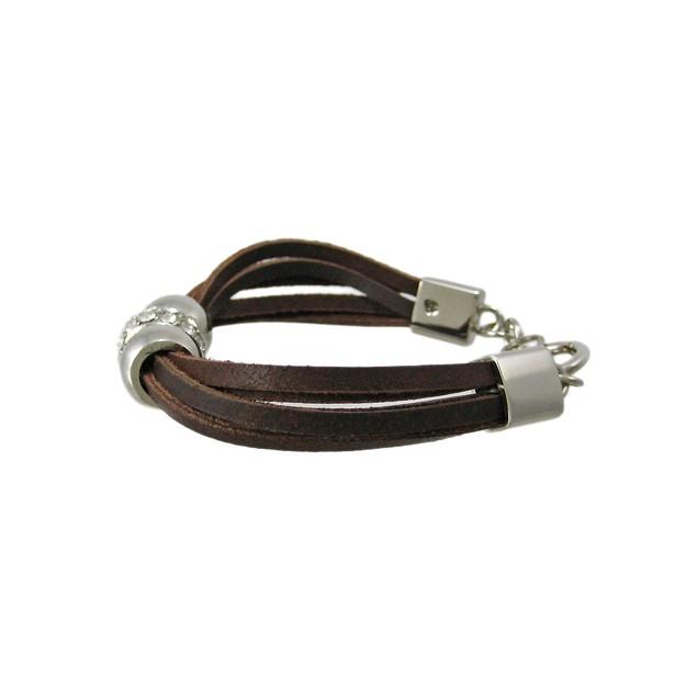 Brown Leather 3 Bead Multi Strand Bracelet Womens Leather Bracelets
