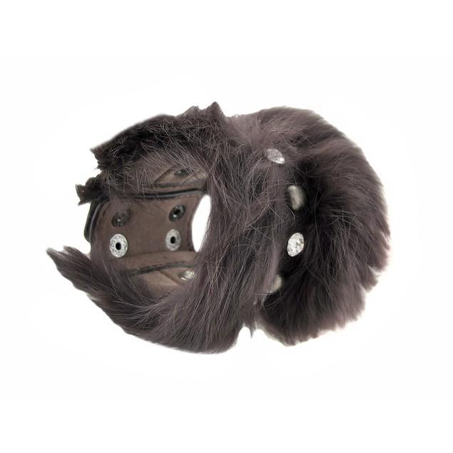 Brown Faux Leather Fur And Rhinestone Wristband Womens Cuff Bracelets