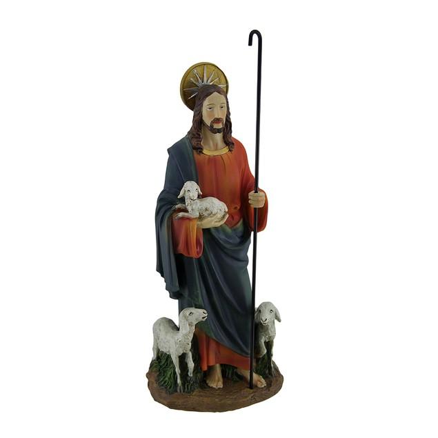Jesus The Good Shepherd Hand Painted Statue Statues
