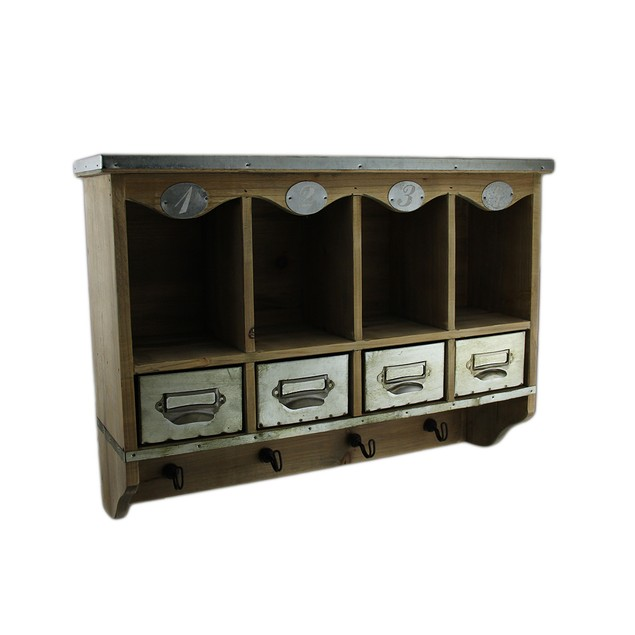 Wooden Wall Mounted Organization Center W/Metal Decorative Wall Hooks