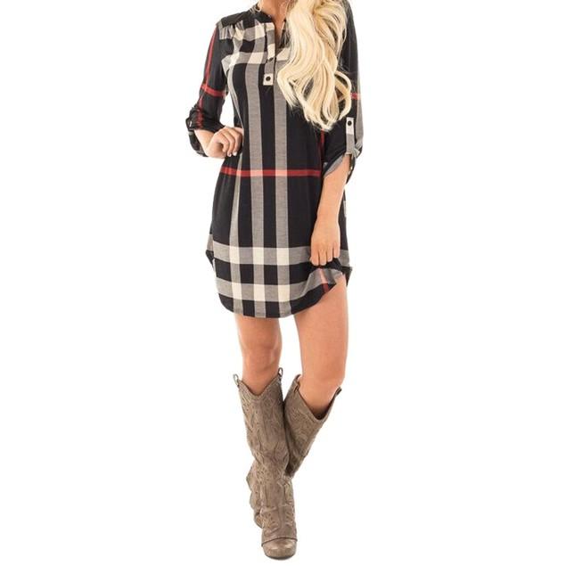 Long Sleeve Plaid Mini Dress