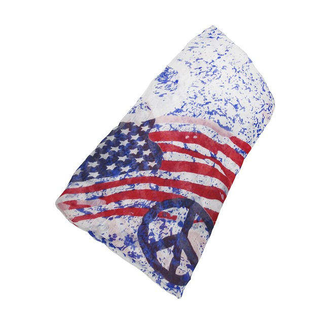 Red / Purple 32 Inch X 25 Inch American Flag Peace Womens Fashion Scarves