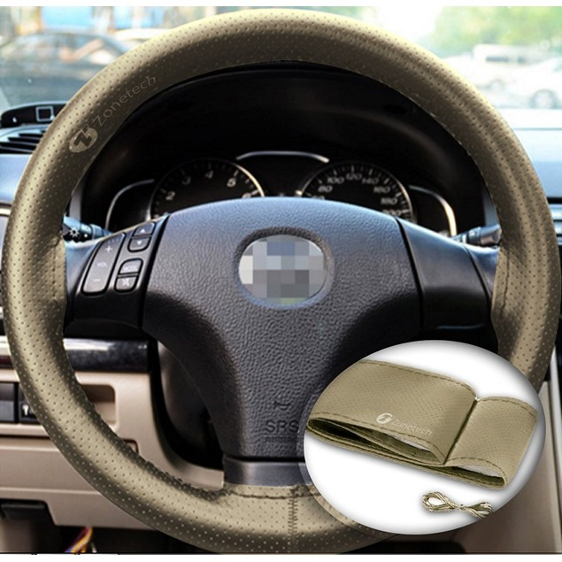 Zone Tech DIY Beige Leather Car Steering Wheel Cover Stitch Sew On