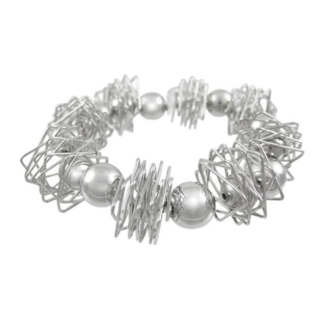Polished Chrome Wire Wrap & Sphere Stretch Womens Stretch Bracelets