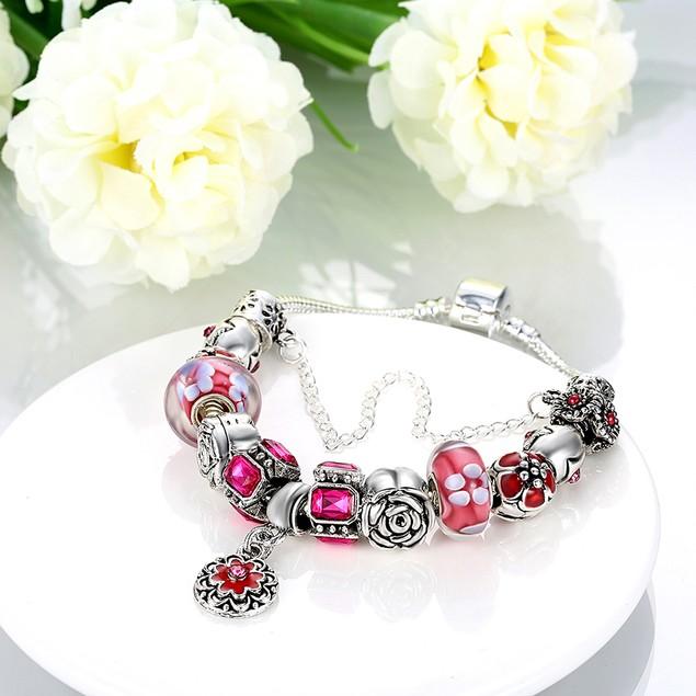 Royal Coral Pink Petite Emblem Designer Inspired Bracelet