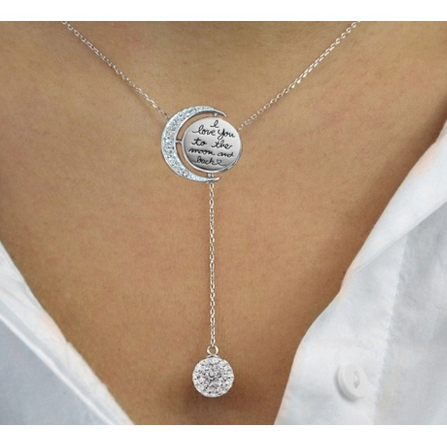 """Sterling Silver Crystal """"To the Moon & Back"""" Y Necklace"""