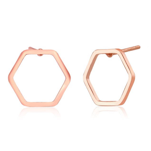 Rose Gold Plated Hexagon Stud Earrings