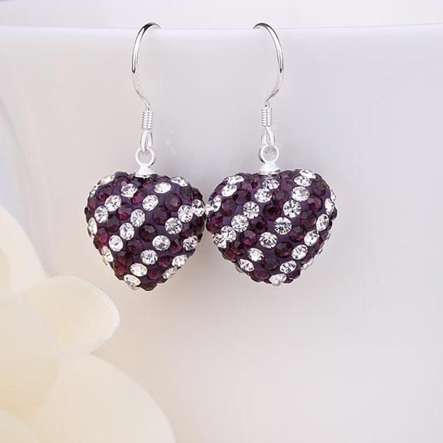 Two Toned Austrian Stone Hearts Drop Earrings -Dark Lavender