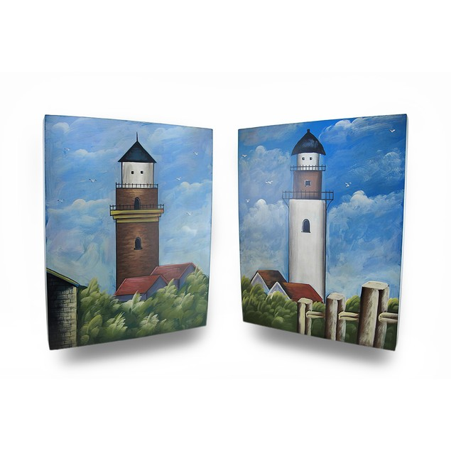 Set Of 2 Wooden Lighthouse Decorative Wall Prints