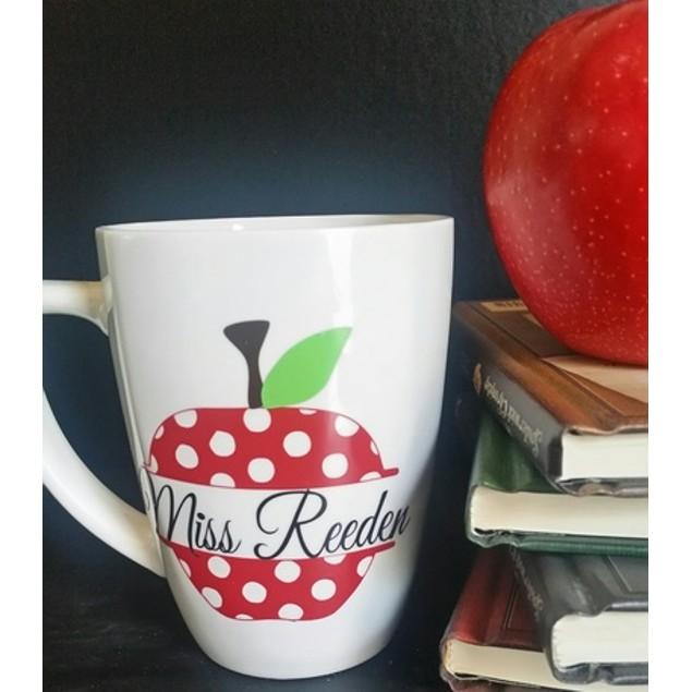 Personalized Teacher Polka Dot Apple Mug