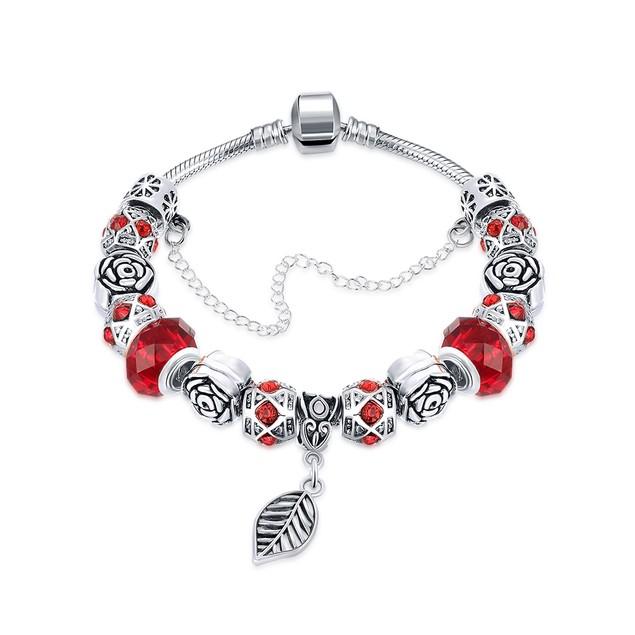 Dark Ruby Red Leaf Branch Designer Inspired Bracelet