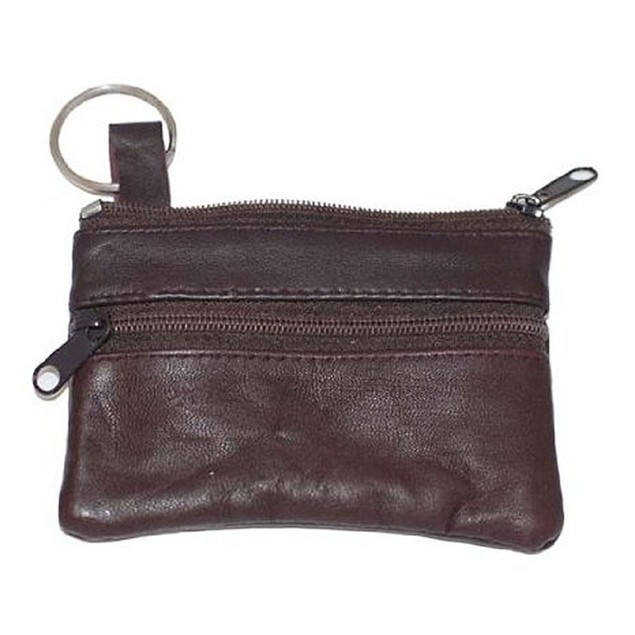 AFONiE Luxurious Leather Change Purse w/ Key Ring