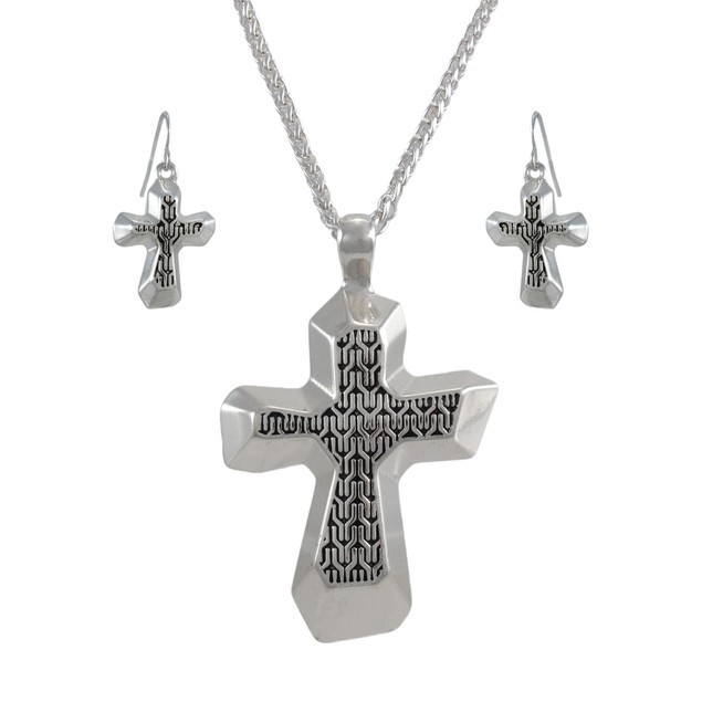 Silvertone Cross Necklace And Dangle Earrings Set Womens Earring And