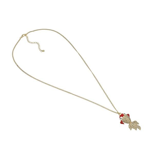 Rhinestone Encrusted Goldfish Necklace Koi Chain Necklaces