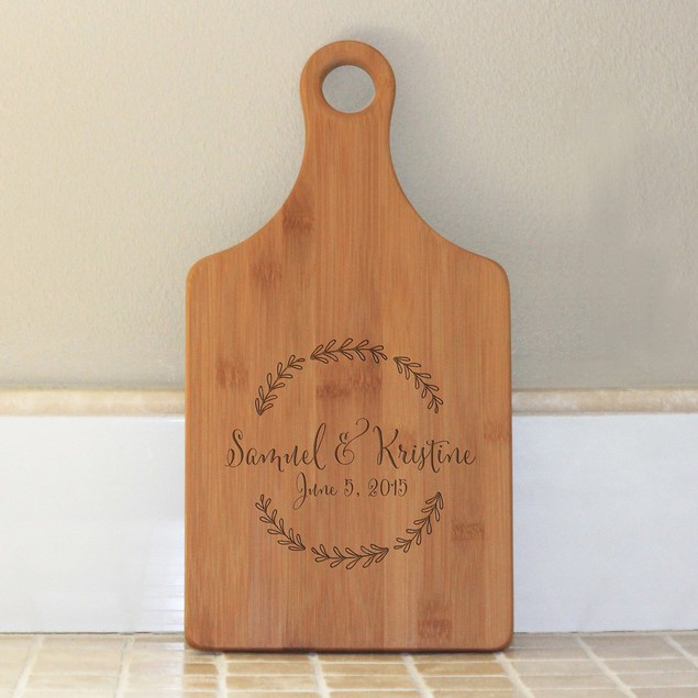 Floral Wreath Paddle Cutting Board
