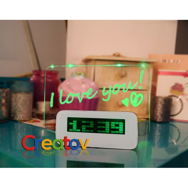 Love Alarm Clock with Message Board & 4 USB Ports