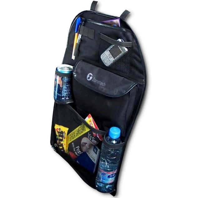 Zone Tech Black Travel Multi Pocket Car Back Seat Organizer Storage Bag