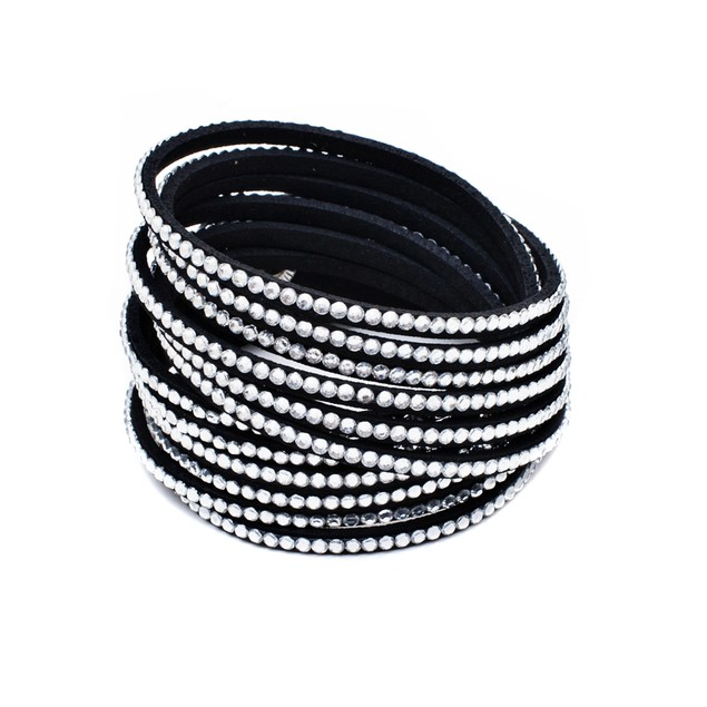 Leather and Austrian Crystal Wrap Bracelet - White