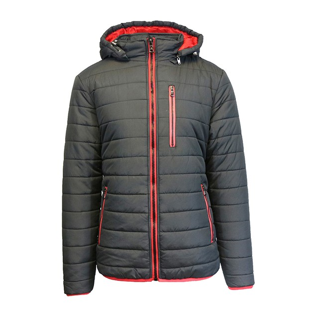 Men's Heavyweight Puffer Jacket with Contrast Lining and Zipper